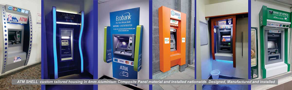 ATM Shell custom tailored housing in 4mm aluminium composite panel material and installed nationwide. Designed, manufactured and installation
